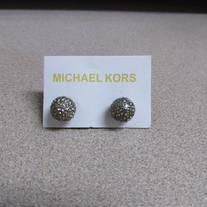 Mk logo gold tone stud earrings
